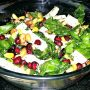 cottage cheese spinach salad in a glass bowl