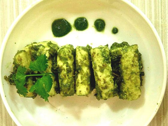 grilled cottage cheese in cilantro dressing